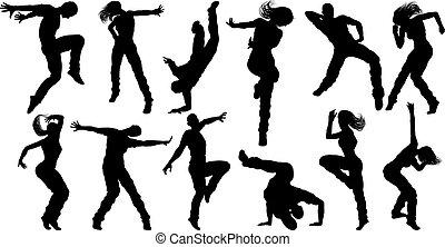 tanz, silhouetten, straße, tänzer
