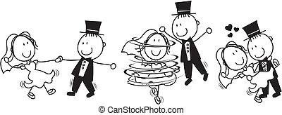 tanz, zuerst, karikatur, wedding