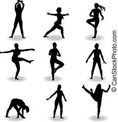 Tanzen Frauen Silhouette Vektor.