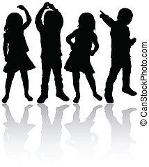 Tanzen Kinder Silhouetten.