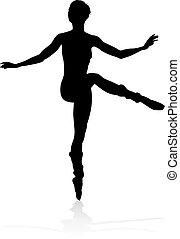 Tanzende Balletttänzerin Silhouette