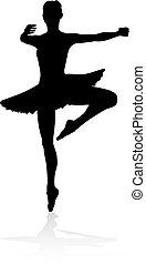Tanzende Balletttänzerin Silhouette.