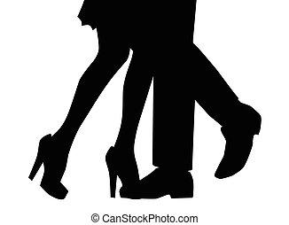 Tanzende Beine in Silhouette.