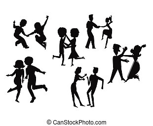 Tanzparty in Silhouette.