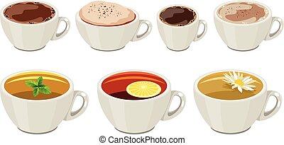 Tassen mit warmen Getränken, isoliert auf weißem Hintergrund.