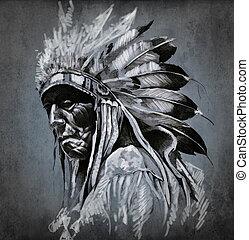 Tattoo-Kunst, Porträt von amerikanischem Indianerkopf über dunklem Hintergrund