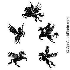 Tattoo-Symbol für Pferdeflügel-Tattoo.