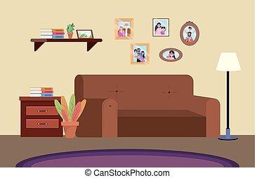 tauchen, sofa, zimmer, familienfotos
