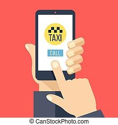 Taxi App auf Smartphone-Bildschirm
