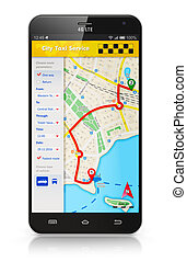 taxifahrzeuge, anwendung, smartphone, service, internet