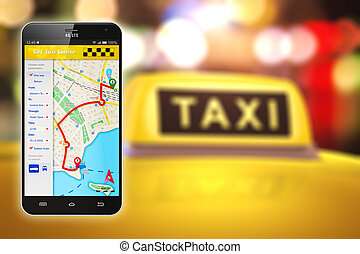 taxifahrzeuge, anwendung, smartphone, service, internet
