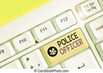 team., demonstrieren, schreibende, text, gesetz, offizier, begriff, polizei, bedeutung, officer., handschrift, durchsetzung