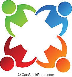 Team hält 4 Logo-Entwicklungselement