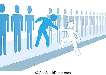 Team-Leute helfen neue Mitglieder einzubinden.