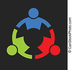 Team stark drei Leute Logo