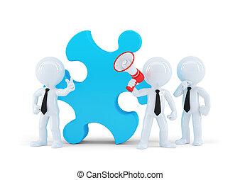 Team von Geschäftsleuten und Teil eines Puzzles