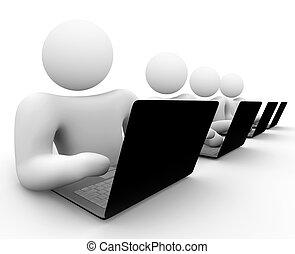 Team von Leuten, die an Laptops arbeiten
