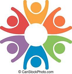 Teamarbeit Leute Gruppe von 6 Gewinnern. Erfolgskonzept