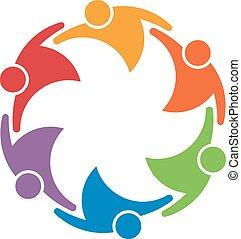 Teamarbeit Leute Gruppe von 6 in einem Kreis. Gewerkschaftskonzept