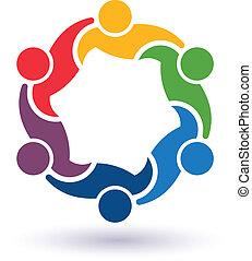 Teaming 6.Concept Gruppe von angeschlossenen Personen , glückliche Freunde, helfen einander.Vector Icon
