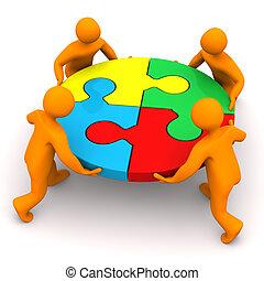 Teamwork 4 Manikins Kreis Puzzle.