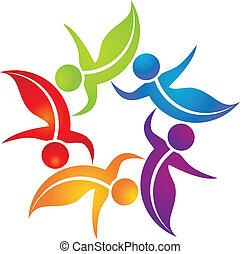 Teamwork Blätter Logo lebendige Farben.