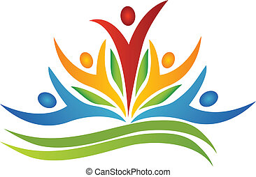 Teamwork-Blume mit Blatt-Logo
