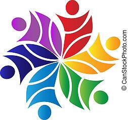 Teamwork-Blumen-Logo