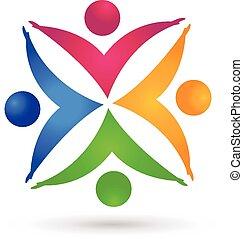 Teamwork bunte Hände Menschen Logo