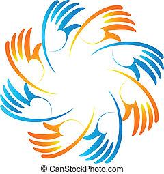 Teamwork Business Einheit Hände Logo.