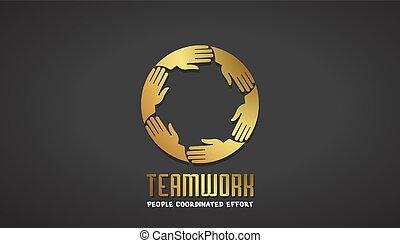 Teamwork Business Gold Hand Logo Design.