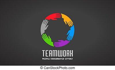 Teamwork Business Hand Logo Design.