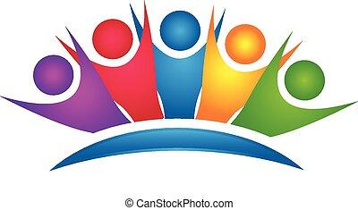 Teamwork colorful Happy Group Logo.