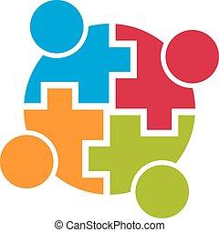 Teamwork Community-Verbindung. Vier Personen. Vector Design