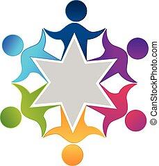 Teamwork Einheit Arbeiter Leute Logo Design.