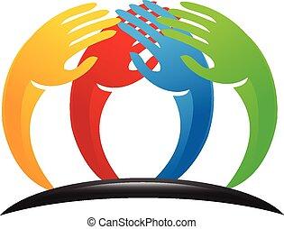 Teamwork Einheit Hand Logo.