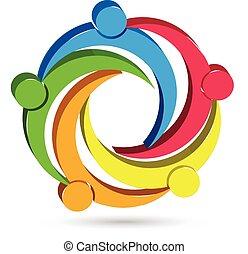 Teamwork Einheit Menschen 3D Logo.