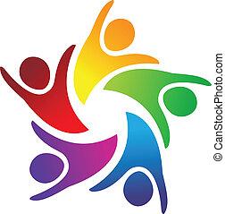 Teamwork Einheit Menschen Logo
