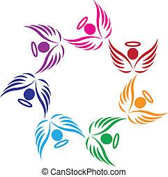 Teamwork-Engel unterstützen Logo