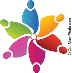Teamwork farbenfrohe Blumenform Logo.
