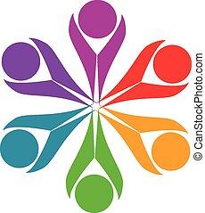 Teamwork Freundschaft Menschen Logo.