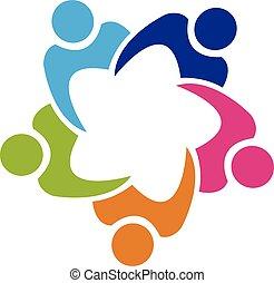 Teamwork Gewerkschaft 5 Personen Logo.