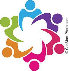 Teamwork Gewerkschaft 6 Leute Logo Vektor.