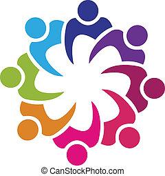Teamwork Gewerkschaft 8 Menschen Logovektor