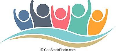 Teamwork Gewinner Logo Design.