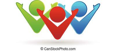 Teamwork glückliche Partnerschaft Logo