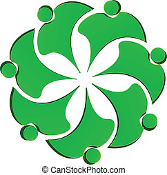 Teamwork Green People Blumen Logo.