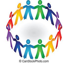 Teamwork hält Händchen für Logovektor