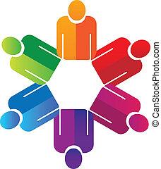 Teamwork hält Händchen, Leute Logo