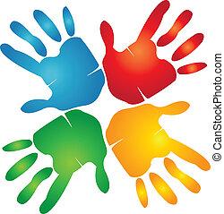 Teamwork-Hände um farbenfrohes Logo